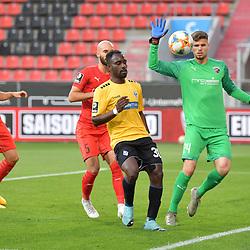 Spiel am 35 Spieltag in der Saison 2019-2020 in der 3. Bundesliga zwischen dem FC Ingolstadt 04 und dem SV Waldhof Mannheim am 24.06.2020 in Ingolstadt. <br /> <br /> Torwart Fabijan Buntic (Nr.24, FC Ingolstadt 04) kommt vor Kevin Koffi (Nr.30, SV Waldhof Mannheim) an den Ball<br /> <br /> Foto © PIX-Sportfotos *** Foto ist honorarpflichtig! *** Auf Anfrage in hoeherer Qualitaet/Aufloesung. Belegexemplar erbeten. Veroeffentlichung ausschliesslich fuer journalistisch-publizistische Zwecke. For editorial use only. DFL regulations prohibit any use of photographs as image sequences and/or quasi-video.