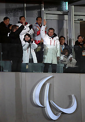 South Korea president Moon Jae-In waves to the crowds during the opening ceremony of the PyeongChang 2018 Winter Paralympics at the PyeongChang Olympic Stadium in South Korea.