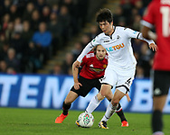Ki Sung-Yueng of Swansea City in action. EFL Carabao Cup 4th round match, Swansea city v Manchester Utd at the Liberty Stadium in Swansea, South Wales on Tuesday 24th October 2017.<br /> pic by  Andrew Orchard, Andrew Orchard sports photography.