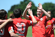 Canterbury United's Sam Field celebrates after a goal in the Handa Premiership football match, Hawke's Bay United v Canterbury United, Bluewater Stadium, Napier, Sunday, December 06, 2020. Copyright photo: Kerry Marshall / www.photosport.nz