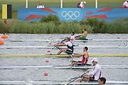 Eton Dorney, Windsor, Great Britain,..2012 London Olympic Regatta, Dorney Lake. Eton Rowing Centre, Berkshire[ Rowing]...Description: Start Men's single Sculls BEL M1X NZL M1X CRO M1X    11:02:04  Tuesday  31/07/2012.[Mandatory Credit: Peter Spurrier/Intersport Images].