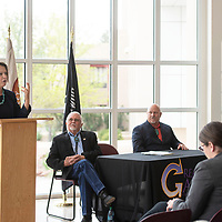 State Land Commissioner Stephanie Garcia Richard speaks at a State Land Office signing ceremony for GGEDC with Gallup Mayor Jackie McKinney and County Commissioner Bill Lee, Monday, May 6, at the McKinley County Courthouse in Gallup.