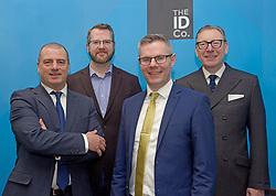 Finance Secretary Derek Mackay at the offices of The ID Co in Edinburgh with (far left) Steve Dunlop, CEO Scottish Enterprise; James Varga, CEO and co-founder The ID Co; and Benny Higgins (far right), strategic adviser to the First Minister on setting up the bank. pic by Terry Murden @edinburghelitemedia