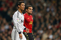 30.01.2013 SPAIN -  Copa del Rey 12/13 Matchday 1/4  match played between Real Madrid CF vs  F.C. Barcelona (1-1) at Santiago Bernabeu stadium. The picture show Jose Manuel Pinto Colorado (Spanish goalkeeper of Barcelona) and  Cristiano Ronaldo (Portuguese forward of Real Madrid)
