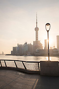 View of futuristic architecture of the Pudong skyline, The Bund, Shanghai, China