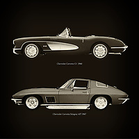 For the lover of old classic cars, this combination of a Chevrolet Corvette C1 1960 and Chevrolet Corvette Stingray 427 1967 is truly a beautiful work to have in your home.<br /> The classic Chevrolet Corvette C1 and the beautiful Chevrolet Corvette Stingray 427 are among the most beautiful cars ever built.<br /> You can have this work printed in various materials and without loss of quality in all formats.<br /> For the oldtimer enthusiast, the series by the artist Jan Keteleer is a dream come true. The artist has made a fine selection of the very finest cars which he has meticulously painted down to the smallest detail. – –<br /> -<br /> <br /> BUY THIS PRINT AT<br /> <br /> FINE ART AMERICA<br /> ENGLISH<br /> https://janke.pixels.com/featured/chevrolet-corvette-c1-1960-and-chevrolet-corvette-stingray-427-1967-jan-keteleer.html<br /> <br /> WADM / OH MY PRINTS<br /> DUTCH / FRENCH / GERMAN<br /> https://www.werkaandemuur.nl/nl/shopwerk/Chevrolet-Corvette-C1-1960-en-Chevrolet-Corvette-Stingray-427-1967/756044/132?mediumId=1&size=60x60<br /> –
