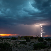 Lightning and dramatic sky during monsoon season in Placitas, New Mexico