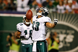 Philadelphia Eagles tight end Tony Curtis #83 reacts after scoring a touchdown during the NFL game between the Philadelphia Eagles and the New York Jets on September 3rd 2009. The Jets won 38-27 at Giants Stadium in East Rutherford, NJ.  (Photo By Brian Garfinkel)