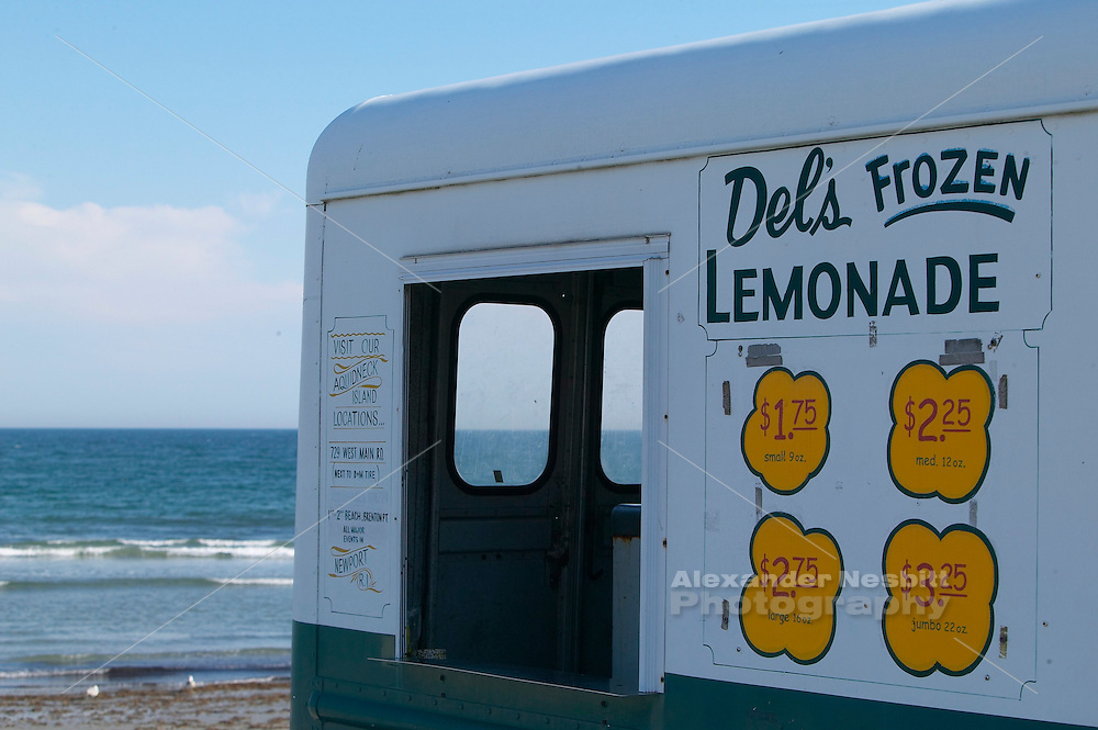 USA, Newport, RI - Del's Frozen Lemonade truck in front of second beach.