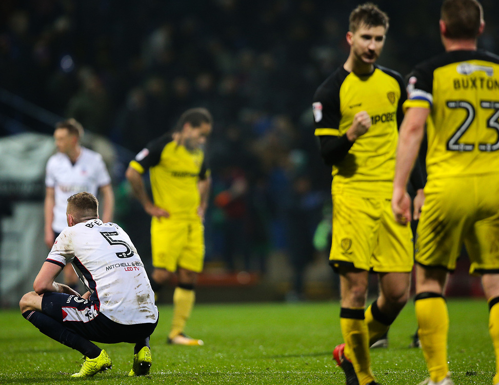 Bolton Wanderers' Mark Beevers reacts after the final whistle<br /> <br /> Photographer Alex Dodd/CameraSport<br /> <br /> The EFL Sky Bet Championship - Bolton Wanderers v Burton Albion - Saturday 16th December 2017 - Macron Stadium - Bolton<br /> <br /> World Copyright © 2017 CameraSport. All rights reserved. 43 Linden Ave. Countesthorpe. Leicester. England. LE8 5PG - Tel: +44 (0) 116 277 4147 - admin@camerasport.com - www.camerasport.com