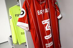 Shirt of Joe Bryan of Bristol City hangs in the Bristol City away dressing room - Rogan/JMP - 09/01/2018 - Etihad Stadium - Manchester, England - Manchester City v Bristol City - Carabao Cup Semi Final First Leg.
