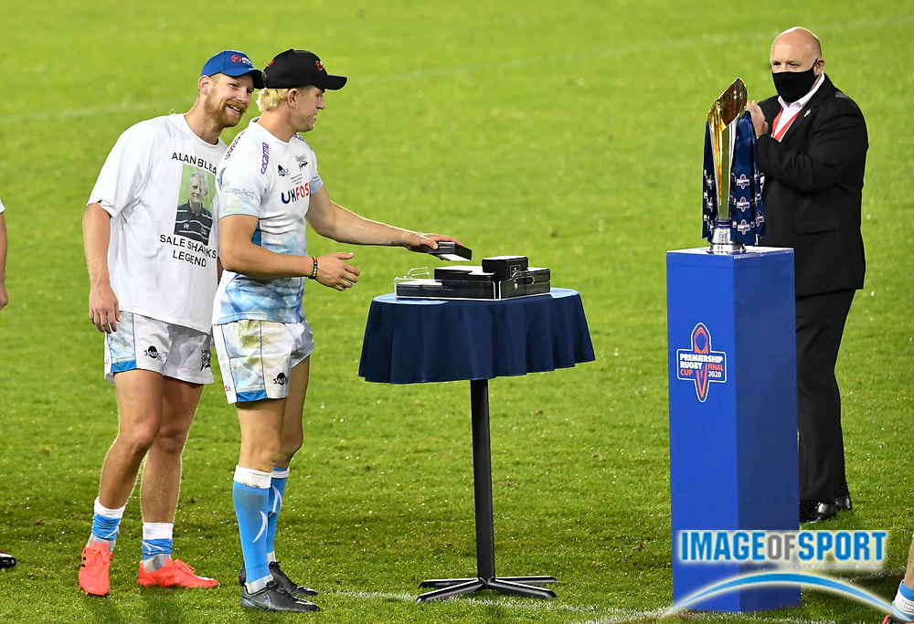 Under Cover regulations the players picked up their own winners medals - Sam James and Rob Du Preez after The Premiership Rugby Cup Final at The AJ Bell Stadium, Eccles, Greater Manchester, United Kingdom, Monday, September 21, 2020. (Steve Flynn/Image of Sport)