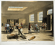 The Mint. Production of coins with coining presses. From 'The Microcosm of London' Ackermann, London 1808-1811. Illustrated by Rowlandson. Aquatint.