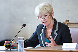 © Licensed to London News Pictures. FILE PICTURE DATED 13/07/2016 of DAME NANCY ROTHWELL addressing a meeting of Manchester City Council at Manchester Town Hall , Manchester, UK. Rothwell has been criticised by students and staff of the University of Manchester , in her role as Vice Chancellor , after the UoM erected fences around Halls of Residence and for an incident in which a black student claims to have been racial profiled by campus security guards. Photo credit: Joel Goodman/LNP