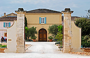 The main entrance and building with stone portico.  Chateau de Beaucastel, Domaines Perrin, Courthézon Courthezon Vaucluse France Europe