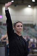 Morgan LeLeux Romero is introduced before the elite women's competition during the National Pole Vault Summit, Friday, Jan. 17, 2020, in Reno, Nev.