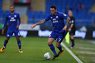 Lee Tomlin of Cardiff city in action. Carabao Cup, 1st round match, Cardiff city v Portsmouth at the Cardiff city Stadium in Cardiff, South Wales on Tuesday August 8th 2017.<br /> pic by Andrew Orchard, Andrew Orchard sports photography.