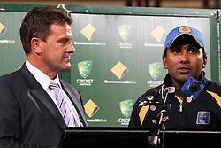 © Licensed to London News Pictures. 08/03/2012. Adelaide Oval, Australia. Losing Sri Lankan captain Mahela Jayawardena (right) speaks at the closing ceremony during the One Day International cricket match final between Australia Vs Sri Lanka. Photo credit : Asanka Brendon Ratnayake/LNP