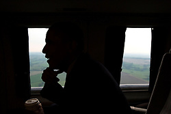 President Barack Obama travels aboard Marine One en route to Stonehenge in Wiltshire, England following the NATO Summit in Wales, Sept. 5, 2014. (Official White House Photo by Pete Souza)<br /> <br /> This official White House photograph is being made available only for publication by news organizations and/or for personal use printing by the subject(s) of the photograph. The photograph may not be manipulated in any way and may not be used in commercial or political materials, advertisements, emails, products, promotions that in any way suggests approval or endorsement of the President, the First Family, or the White House.