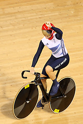 Victoria Pendleton of Great Britain during the women's team sprint qualifying held at the Velodrome at Olympic Park in London as part of the London 2012 Olympics on the 2nd August 2012..Photo by Ron Gaunt/SPORTZPICS