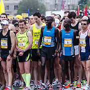 The elite men runners just moments before the start of the 2012 Cherry Blossom 10-Miler. At right, in the number 9 bib, is the eventual winner, Allan Kiprono from Kenya, who set a new course record of 45:15. To his right, in number 11, is Lani Kiplagat, also from Kenya, who came second in 46:28. This year was the 40th running of the race that is run every spring in Washington DC to coincide with the National Cherry Blossom Festival. The course starts near the Washington Monument, heads over Memorial Bridge and back, goes up under the Kennedy Center, around the Tidal Basin and past the Jefferson Memorial, and then does a loop around Hains Point back to the finish near the Washington Monument.