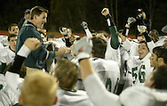 Cornwall football coach Matt Buddenhagen talks to his team after they beat  Mahopac 13-10 in a Class A state tournament game at Mahopac High School in Mahopac on Nov. 10, 2006.