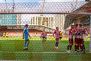 Brentford celebrate a penalty scored by Brentford forward Ivan Toney(#17) during the EFL Sky Bet Championship match between Brentford and Watford at Brentford Community Stadium, Brentford, England on 1 May 2021.