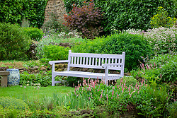 Painted bench at Pettifers, Oxfordshire