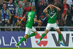 25.09.2010, Weser Stadion, Bremen, GER, 1.FBL, Werder Bremen vs Hamburger SV im Bild Jubel nach dem 2:0 durch Hugo Almeida ( Werder #23 ) mit Sebastian Prödl / Proedl ( Werder #15)    EXPA Pictures © 2010, PhotoCredit: EXPA/ nph/  Kokenge+++++ ATTENTION - OUT OF GER +++++ / SPORTIDA PHOTO AGENCY