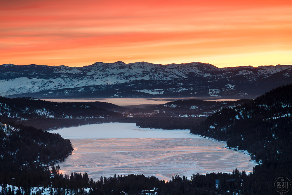 """""""Donner Lake Sunrise 16"""" - Sunrise photograph of a mostly frozen over Donner Lake in Truckee, California."""