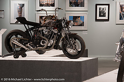 Iron Mono Harley-Davidson Ironhead Sportster built by Kevin Dunworth of Loaded Gun Customs in Michael Lichter's Skin & Bones tattoo inspired Motorcycles as Art show at the Buffalo Chip Gallery during the annual Sturgis Black Hills Motorcycle Rally. SD, USA. August 10, 2016. Photography ©2016 Michael Lichter.