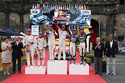 25.08.2013, Panzerplatte, Baumholder, GER, FIA WRC, ADAC Rallye Deutschland, im Bild Podium mit HIRVONEN Mikko/ LEHTINEN Jarmo (CITROEN TOTAL ABU DHABI WRT (FRA)/ CITROEN DS3), Daniel SORDO / Carlos DEL BARRIO (CITROEN TOTAL ABU DHABI WRT (FRA) / CITROEN DS3) und NEUVILLE Thierry / GILSOUL Nicolas (QATAR WORLD RALLY TEAM (GBR) / FORD FIESTA RS), Jubel, Freude, Emotionen, // during the FIA WRC Rallye of Germany, Panzerplatte in Baumholder, Germany on 2013/08/25. EXPA Pictures © 2013, PhotoCredit: EXPA/ Eibner/ Alexander Neis<br /> <br /> ***** ATTENTION - OUT OF GER *****