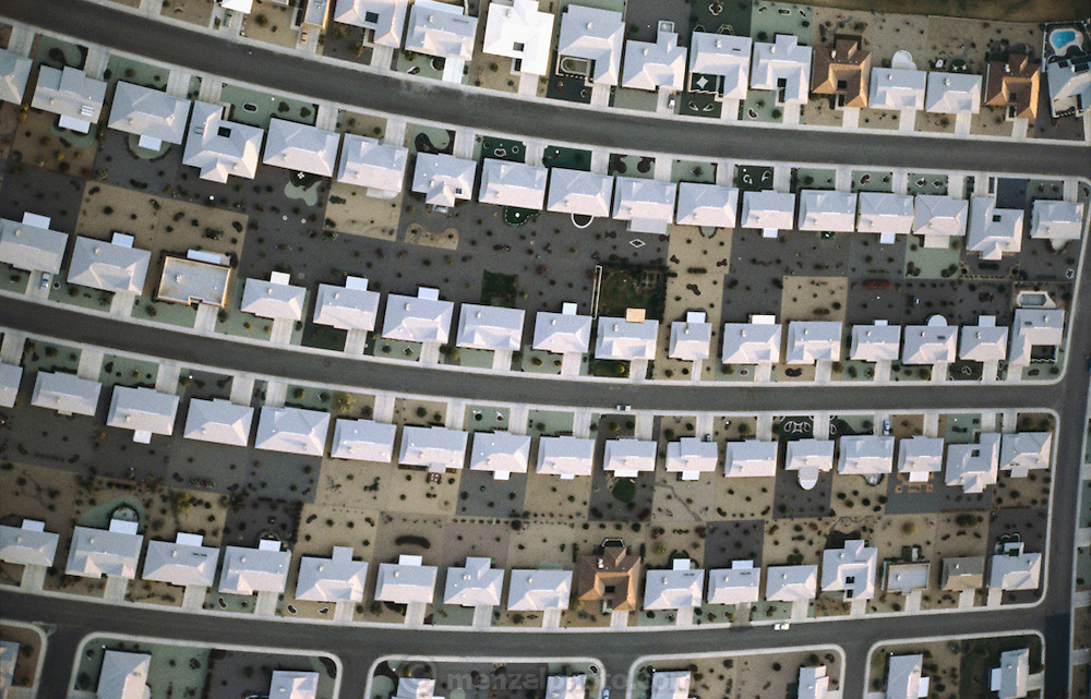 Aerial photograph of track housing in Sun City, Arizona. Sun City is one of the nations first planned retirement community for active seniors..