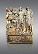 Roman SSebasteion  relief  sculpture of Apollo and Royal Hero Aphrodisias Museum, Aphrodisias, Turkey. <br /> <br /> Apollo sits on a raised platform with his tripod at his oracular shrine. He is approached by two figures. A women greets  the god with a raised hand. With her is a hero wearing a travelling cloak and the flat headband or diadem of a king. He has come to consult Apollo, probably about a city foundation. .<br /> <br /> If you prefer to buy from our ALAMY STOCK LIBRARY page at https://www.alamy.com/portfolio/paul-williams-funkystock/greco-roman-sculptures.html . Type -    Aphrodisias     - into LOWER SEARCH WITHIN GALLERY box - Refine search by adding a subject, place, background colour, museum etc.<br /> <br /> Visit our ROMAN WORLD PHOTO COLLECTIONS for more photos to download or buy as wall art prints https://funkystock.photoshelter.com/gallery-collection/The-Romans-Art-Artefacts-Antiquities-Historic-Sites-Pictures-Images/C0000r2uLJJo9_s0