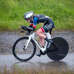 26-05-2021: Wielrennen: testtijdrit: Enkhuizen<br /><br />De WV West Frisia organiseert op de dijk Enkhuizen-Lelystad testtijdritten voor vrouwen in de aanloop naar de opstart van het wielerseizoen. Sanne van Heel (Zaltbommel)