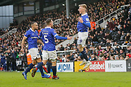 GOAL 1-1 Oldham Athletic forward Sam Surridge (9) scores a penalty to equalise during The FA Cup 3rd round match between Fulham and Oldham Athletic at Craven Cottage, London, England on 6 January 2019.