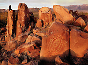 Sunset bathes the rocks in a warm light at the Three Rivers Petroglyph Site in southern New Mexico.  The site is managed by the Bureau of Land Managment. The images were pecked by the Jornada Mogollon people between 900 and 1400 A.D.