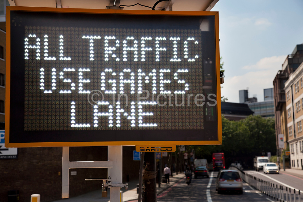 London, UK. Wednesday 25th July 2012. Sign advising motorists that they are allowed to use the Games lanes on the Olympic Route Network. Transport is a huge issue in and around the London 2012 Olympic Games. With many roads closed off to regular traffic, the inevitable problems occur.