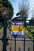 A closed sign on a locked gate of Cheriton cemetery on the 10th of April 2020, in Folkestone, United Kingdom. All memorial grounds in the UK have been closed to the public to stop the spread of COVID - 19 with the exception of funerals with immediate family members.