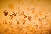 Hand prints of children on the wall of the Bazzama primary school in the town of Bazzama, Cameroon on Wednesday September 16, 2009..
