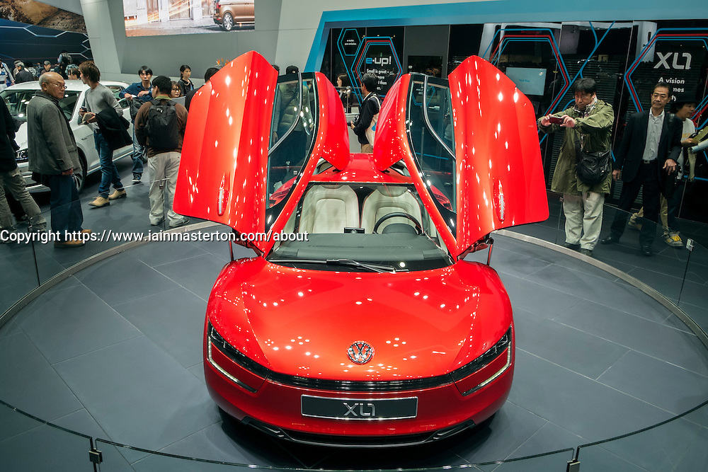 Volkswagen X-L1 hybrid  car with very high fuel efficiency at Tokyo Motor Show 2013 in Japan