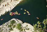 Kayaks in Gorges de l'Ardèche The Ardeche River gorge, Provence, France