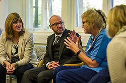 Pictured: Alison Johnstone and Patrick Harvie get down to details with some nurses.<br /> <br /> Alison Johnstone, health spokeswoman for the Scottish Greens, was joined by party co-conveners Patrick Harvie and Maggie Chapman as she spoke to nurses about pay at the Royal College of Nursing in Edinburgh. The talks came ahead of the party's conference in Edinburgh at the weekend.<br /> <br /> Ger Harley | EEm 20 October 2017