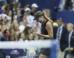 August 28, 2017 - New York, United States - Maria Sharapova of Russia celebrates winning during US Open Championships day against Simona Halep of Romania at Billie Jean King Tennis center (Credit Image: © Lev Radin/Pacific Press via ZUMA Wire)