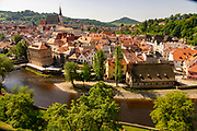 Overhead view of Cesky Krumlov and the Vltava River as seen from the Castle Tower