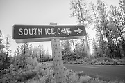 Shot up roadside signs in Central Oregon in Deschutes National Forest, Oregon.