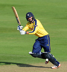 Hampshire's James Vince flicks the ball - Photo mandatory by-line: Harry Trump/JMP - Mobile: 07966 386802 - 05/06/15 - SPORT - CRICKET - Somerset v Hampshire - The County Ground, Taunton, England.