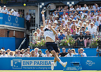 Tennis - 2017 Aegon Championships [Queen's Club Championship] - Day Three, Wednesday<br /> <br /> Men's Singles, Round of 16 - Grigor Dimitrov (BUL) vs Julien Benneteau (FRA)<br /> <br /> Julien Benneteau (FRA) unable to reach a lob shot from Grigor Dimitrov (BUL) at Queens Club<br /> <br /> COLORSPORT/DANIEL BEARHAM
