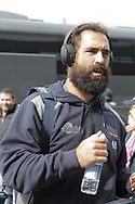 Sale Sharks Bryn Evans arrives ahead of the Gallagher Premiership Rugby match between Sale Sharks and Worcester Warriors at the AJ Bell Stadium, Eccles, United Kingdom on 9 September 2018.