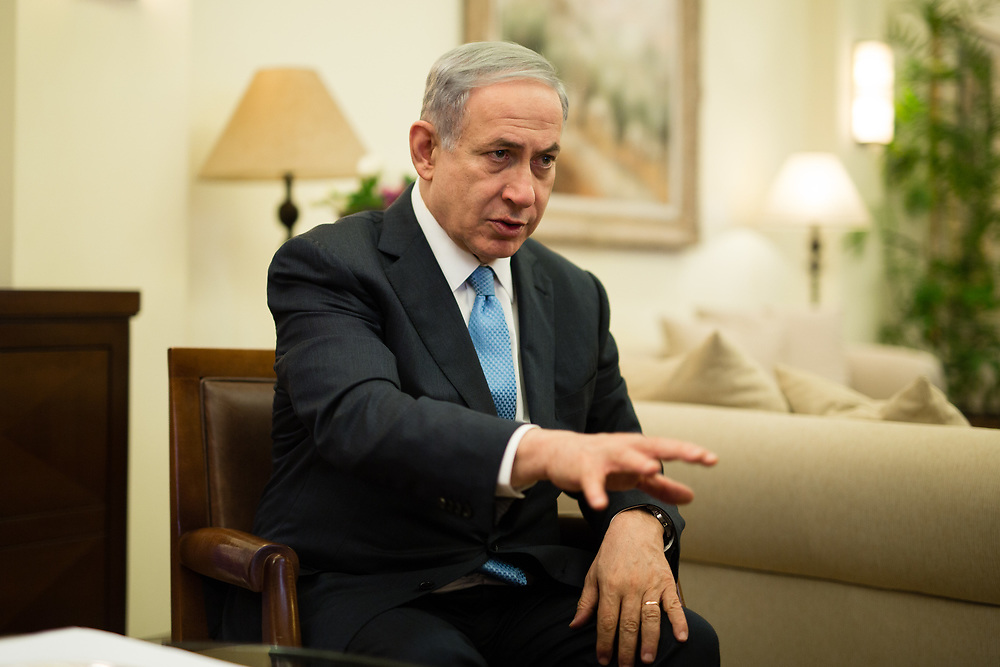 Israeli Prime Minister Benjamin Netanyahu is seen during an interview at the Prime Minister's residence in Jerusalem, Israel, on March 17, 2015, as Israelis vote in early parliament elections.